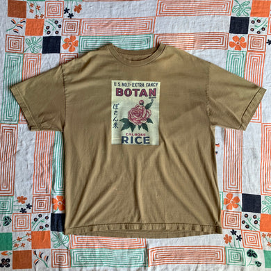 Botan Rice Vintage Light Brown Tee - L