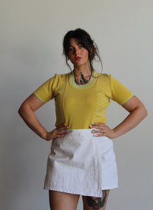 90s Bill Blass White Eyelet Mini Skort