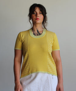 90s Chartreuse Knit Short Sleeve Sweater