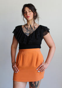 90s Orange Silk Mini Skirt