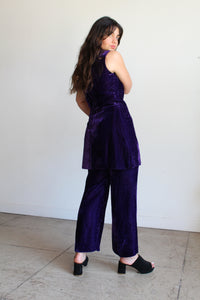 1960s Purple Velvet Animal Print Set
