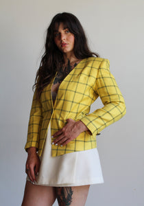 1980s Yellow Plaid Blazer Deadstock Amanda Smith