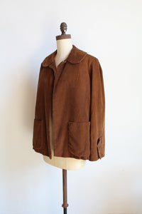 1940s Brown Corduroy Jacket - Novelty Print Lining