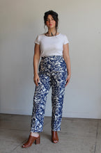 Load image into Gallery viewer, 90s Silk Beaded Blue Hawaiian Print Pants