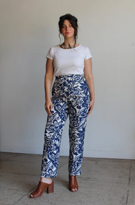90s Silk Beaded Blue Hawaiian Print Pants