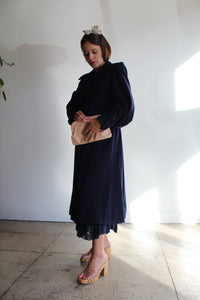 1940s Navy Blue Wool Princess Coat