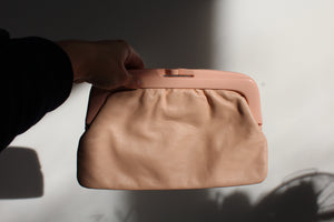 1970s Pastel Pink Leather + Plastic Clutch