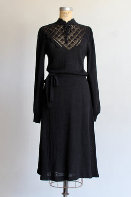 1970s Black Pointelle Knit Sweater Dress