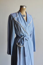 Load image into Gallery viewer, 1950s Baby Blue Diamond Jacquard Dressing Gown