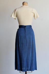 1950s Blue Sharkskin Pencil Skirt