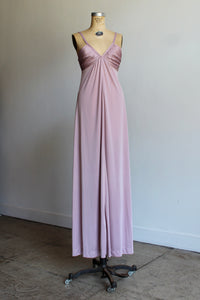1970s Mauve Pink Pleated Bust Maxi Sun Dress