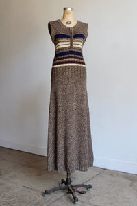 1990s Brown Knit Maxi Sweater Dress