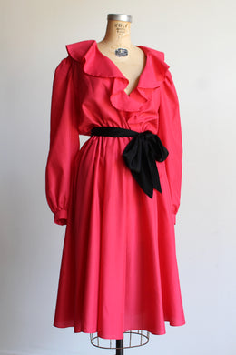 1970s Neon Pink Ruffle Dress
