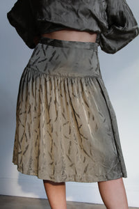 1980s Silk Brushstroke Blouse + Skirt Set