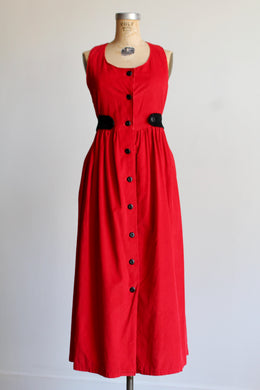 1990s Red Corduroy Jumper Dress