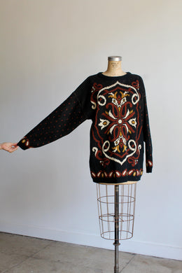 1980s Paisley Floral Knit Pullover Sweater
