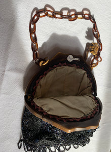 1900 Glass Beaded Purse w/ Celluloid Frame