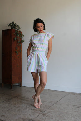 1980s Pastel Striped Romper