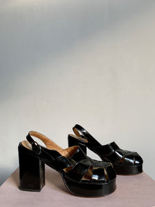 1970s Black Patent Leather Platforms