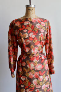 1960s Pink Fruit Tree Silk Wiggle Dress