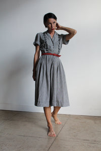 1950s Houndstooth Cotton Embroidered Dress