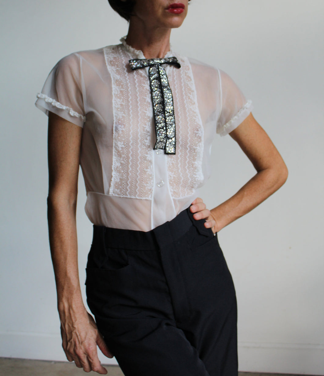 1950s Sheer Ruffle Blouse