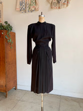 Load image into Gallery viewer, 1940s Black Gathered Waist Dress