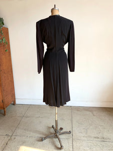 1940s Black Gathered Waist Dress