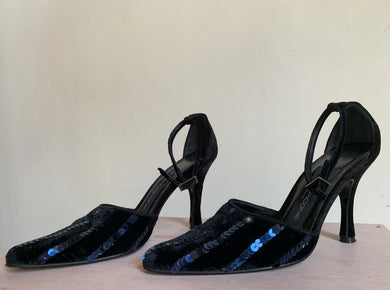 90s Black Velvet Sequined Heels