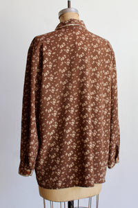 1990s Brown Floral Lounge Blouse