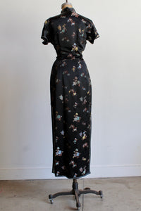 1960s Black Satin Chrysanthemum Print Cheongsam Qipao Dress