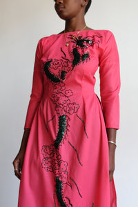 1960s Hot Pink Sequined Áo Dài