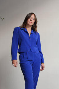 1980s Blue Silk Suit