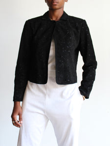 80s Suede Eyelet Cropped Jacket
