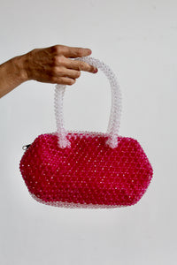 1960s Hot Pink Plastic Beaded Handbag