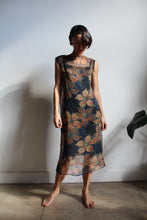 Load image into Gallery viewer, 1920s Navy Blue Silk Chiffon Floral Print Dress