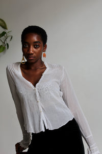 1910s White Cotton Long Sleeve Blouse