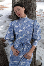 Load image into Gallery viewer, 1970s Laura Ashley Blue Swan Print Dress