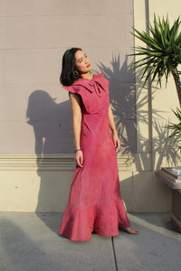 1930s Rosewood Pink Quilted Space-Age Gown