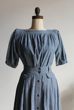 Load image into Gallery viewer, 1980s Chambray Western Blouse + Skirt Set
