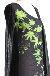 1990s Fuzzi Black Printed Mesh Mini Dress