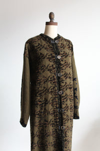 1980s Full Length Hand Knit Wool Sweater Coat