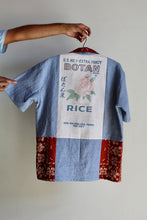 Load image into Gallery viewer, Botan Rice Railroad Stripe Button Up with Bandana Patchwork