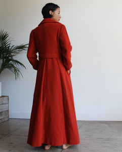 1970s Floor Length Nutmeg Wool Coat