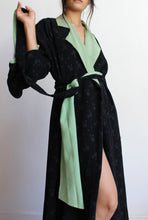 Load image into Gallery viewer, 1930s Black Silk Polka Dot Kimono Robe