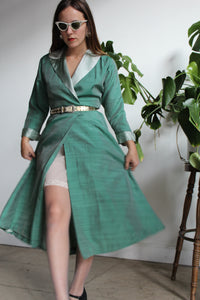 1950s Jade Green Iridescent Silk + Satin Wrap Dress w/ Belt