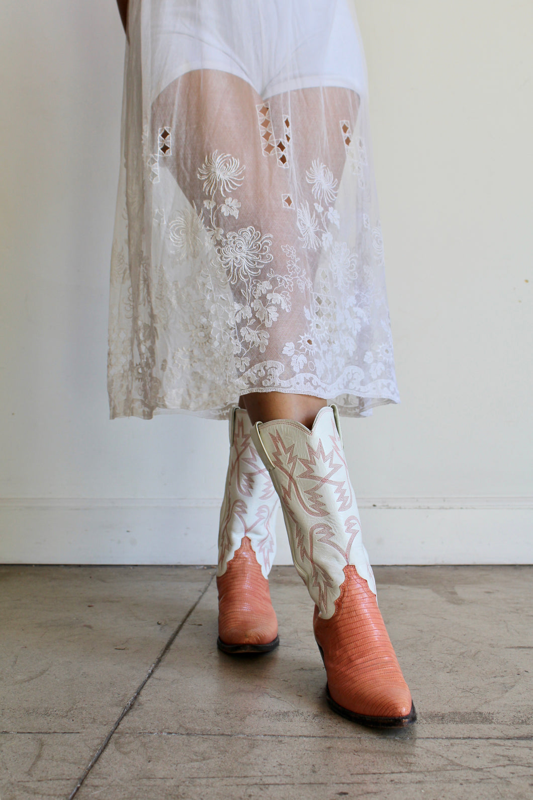 1970s Peach Coral Leather Cowgirl Boots by Justin