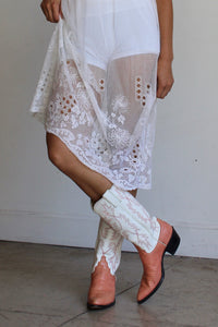 1920s White Net Lace Sheer Overlay Dress