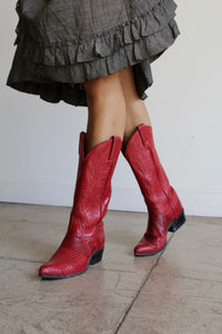 1970s Red Leather Cowgirl Boots by Tony Lama