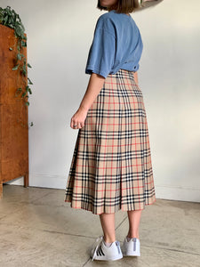 1980s Burberry Plaid Pleated Wool Skirt